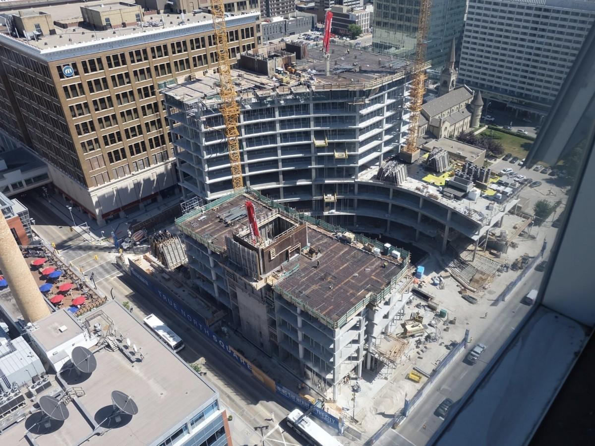 Winnipeg's True North Square taking shape - True North Square construction taken from Manitoba Hydro building (True North Real Estate Development)